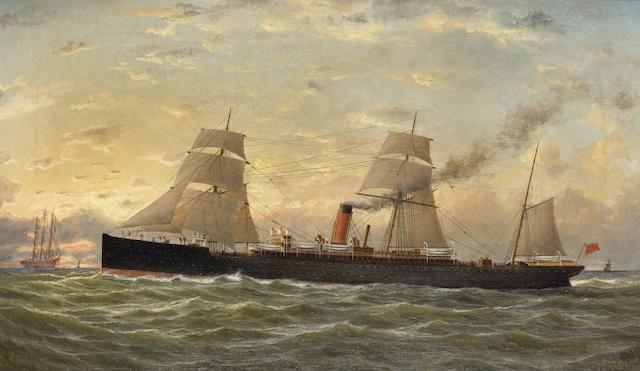 "George Parker Greenwood (British, fl.1887-1904) The Cunard liner ""Pavonia"" 30.4 x 51.4cm. (12 x 20 1/4in.)"