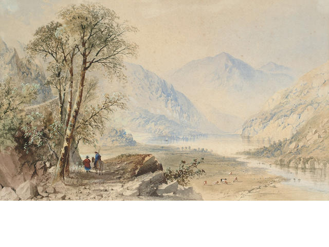 Cornelius Pearson (British, 1805-1891) Figures within a mountainous landscape, 27.5 x 44.5 cm (10 3/