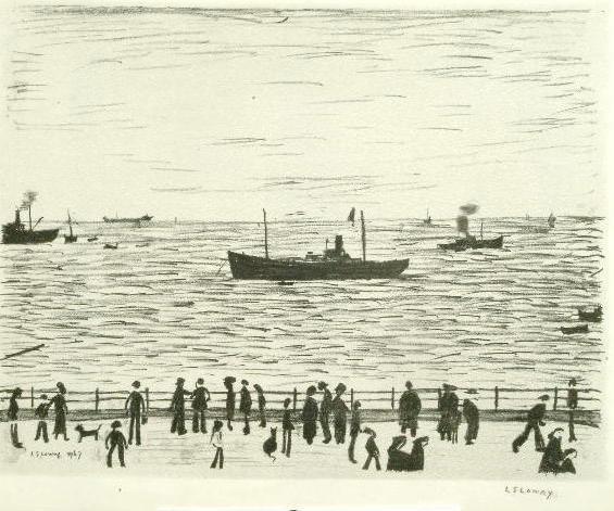 Laurence Stephen Lowry (1887-1976) 'Seaside Promenade' 47 x 60.5cm.