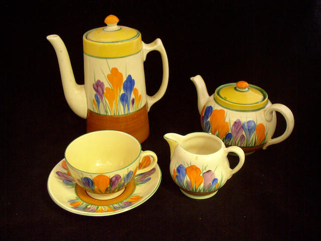 A Clarice Cliff composite 'Crocus' tea set