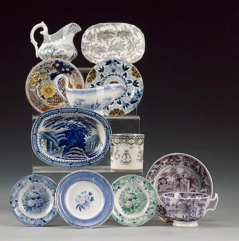 Set of six nursery plates, Pratt Colours