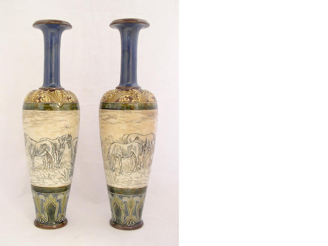 Lambeth A pair of Doulton Lambeth vases by Hannah Barlow