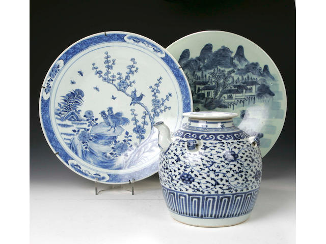 A large Chinese blue and white Tea Pot, a blue and white Charger and other items, (qty)