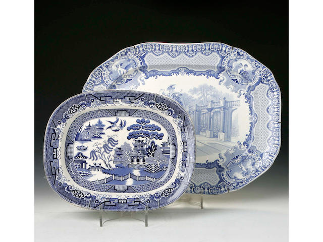 A large blue and white transfer printed Meat Plate, together with another and four Ashets, (6)