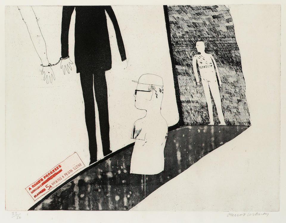 """David Hockney The Rake's Progress The complete set of sixteen etchings with aquatint, 1961-3, printed in red and black, signed and numbered 32/50 in pencil, on Barcham Green handmade paper, the full sheets, published by Editions Alecto; in good condition, 300 x 400mm (12 x 15 3/4in)(PL). Together with the original lithographic poster for """"The Rake's Progress and other Etchings by David Hockney"""", signed and dated 1963 and a book published by Lion and Unicorn Press."""