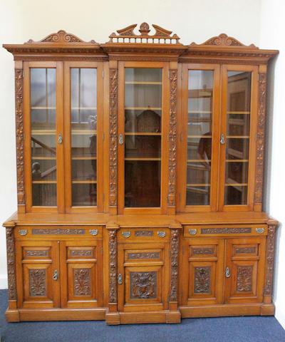 A large Victorian oak Breakfront Bookcase Cabinet,