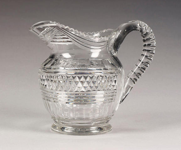 A cut glass jug, early 19th century,