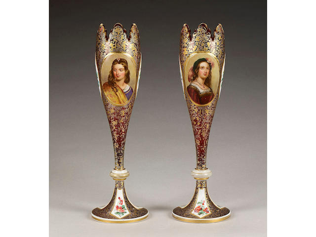 A pair of Bohemian ruby overlay glass vases, late 19th century,