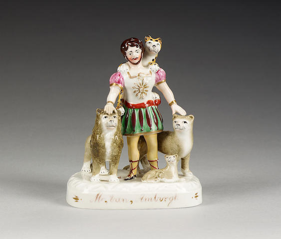 A titled figural group of Van Amburgh, circa 1839, attributed to John and Rebecca Lloyd of Shelton,