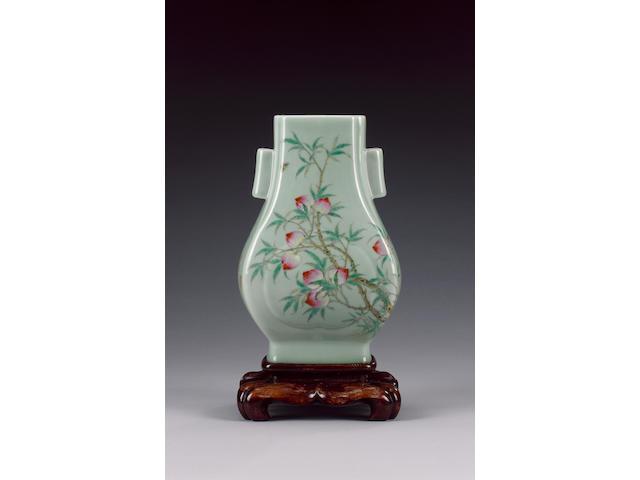A celadon-ground, famille rose vase