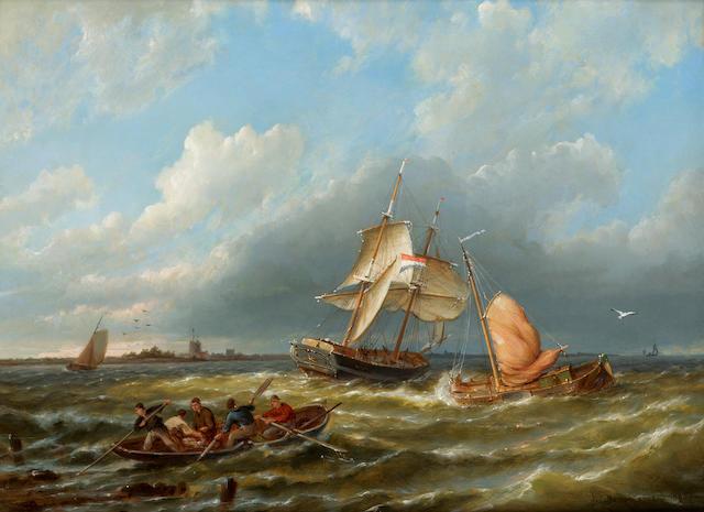 Pieter Cornelis Dommersen (Dutch, 1834-1908) 'Near Dokkum, Holland' 30.4 x 40.7cm.(12 x 16in.)