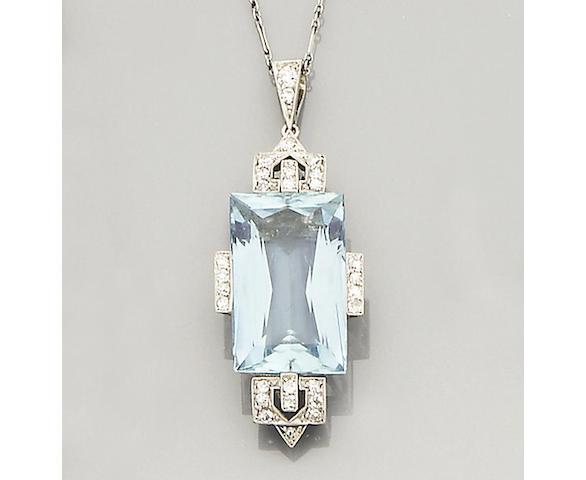 A 20th century aquamarine and diamond pendant,