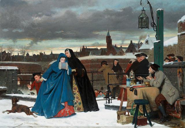 Auguste Serrure (Belgian 1825-1903) A winter outing 50 x 70.5 cm. (19 3/4 x 27 3/4 in.)
