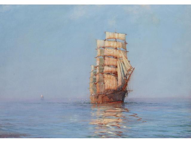 Montague Dawson (British, 1895-1973)  Evening Gold - The 'Antiope'  36.8 x 59.4 cm. (14 1/2 x 23 3/8