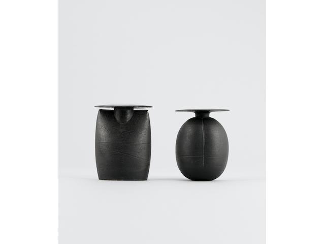 Hans Coper a black burnished 'Plum' Pot, circa 1975 Height 5 5/8in. (14.3cm)