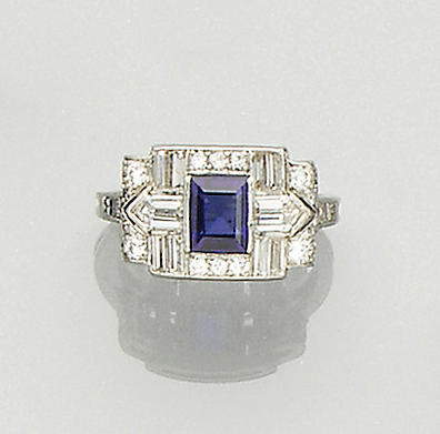 A sapphire and diamond dress ring,, by Tiffany & Co.,