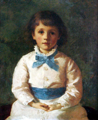 Early 20thc School, Portrait of a young girl with blue ribbon, 64cm x 51cm,