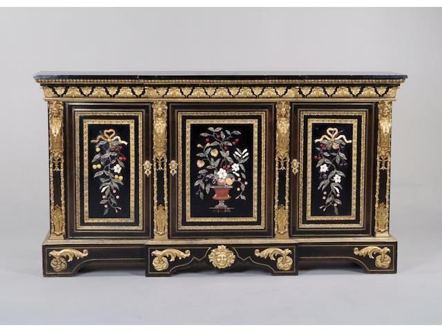 A Napoleon III ebonised, gilt metal mounted and pietra dura breakfront side cabinet