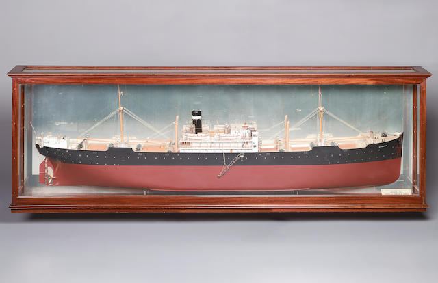 """A large mirror-backed Builder's half model of the Passenger Cargo Liner """"Modavia"""", 1927 110.6x14x36.5in(281x36x92cm)"""