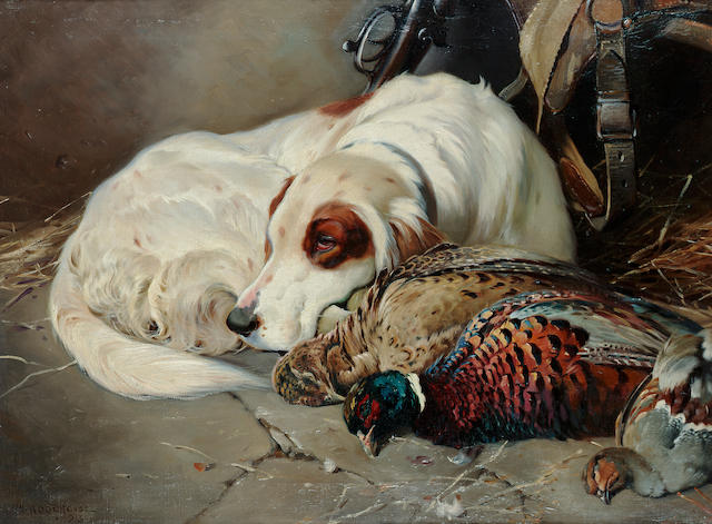 William Woodhouse (British 1857-1939) After the shoot, an English Setter with game 18 x 24 in. (46 x 61 cm.)