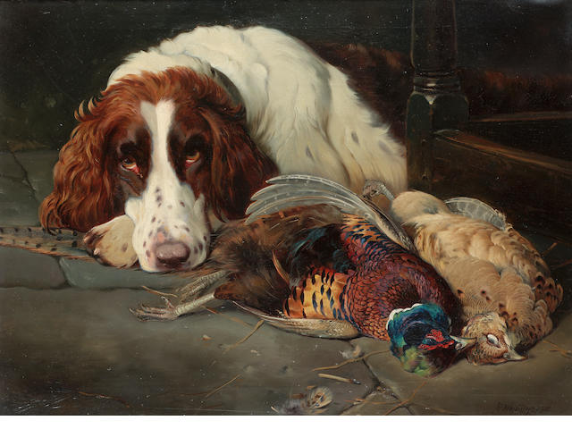 William Woodhouse (British 1857-1939) Setter with game 20 x 24 in. (51 x 61 cm.)