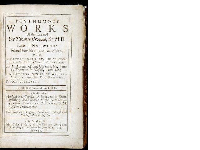 BROWNE (Sir THOMAS) Posthumous Works
