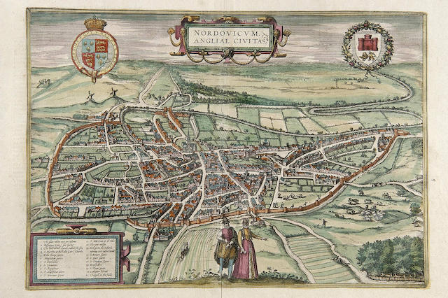 BRAUN (GEORG) (1541-1590) & HOGENBERG (FRANS) (1535-1590) Bird's Eye View of Norwich