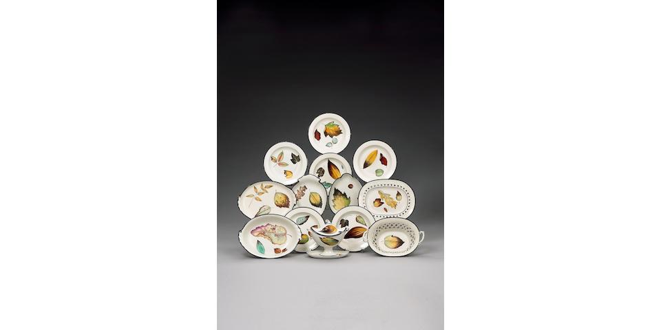 An assembled Davenport pearlware 'Fallen Leaves' dessert service circa 1800