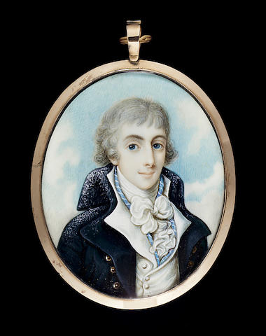 Attributed to James Green, A young Gentleman, wearing blue-grey coat, white waistcoat, blue and white striped solitaire, frilled shirt and tied cravat