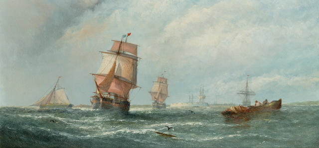 William Callcott Knell (British, c.1830-after 1876 Off Sheerness 20.3 x 40.6cm. (8 x 16in.)