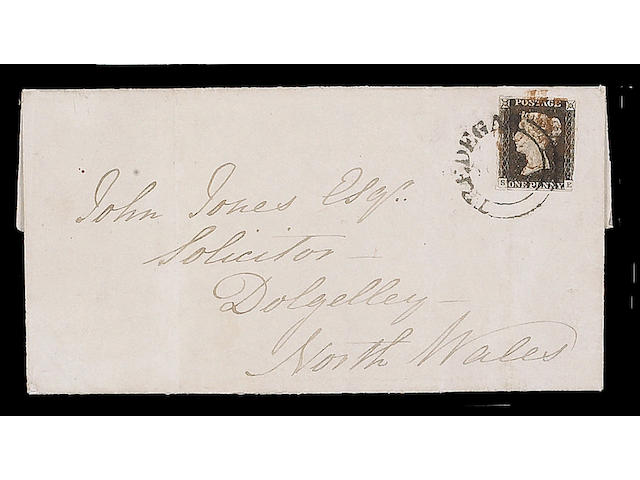 """1840 1d. Plate II: SE (upper transfer shift) good margins three sides, touched at lower-right, used on 1840 (Aug.) E. tied by """"TREDEGAR"""" undated circle and red M.C., vertical filing crease, otherwise fine and rare."""