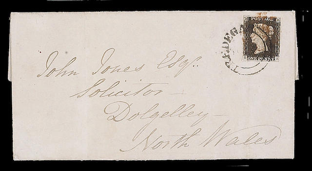 "1840 1d. Plate II: SE (upper transfer shift) good margins three sides, touched at lower-right, used on 1840 (Aug.) E. tied by ""TREDEGAR"" undated circle and red M.C., vertical filing crease, otherwise fine and rare."