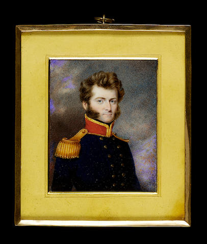 Attributed to Noel Carter, A Naval Officer, believed to be Commander Charles Inglis, wearing dark blue naval uniform with brass buttons embossed with an anchor, gold-edged red collar and gold epaulette