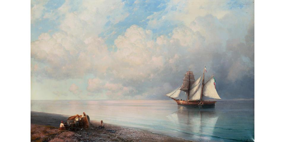 Ivan Konstantinovich Aivazovsky (Russian, 1817-1900) Boat ashore 63 x 98.5 cm. (24 3/4 x 38 3/4 in.)