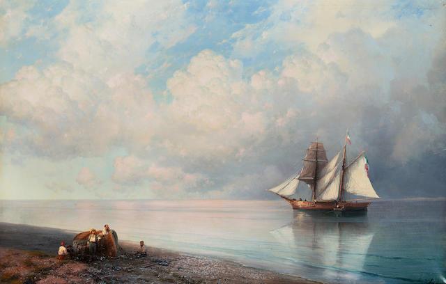Ivan Konstantinovich Aivazovsky, 1817-1900 Calm early evening sea 63 x 98.5 cm. (24 3/4 x 38 3/4 in.)