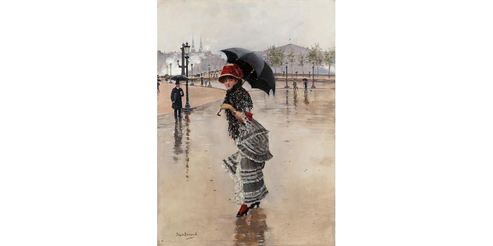 Jean Beraud (French 1849-1946)   Parisienne un jour de pluie, place de la Concorde 35 x 25 cm. (13 3