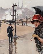 Jean Béraud (French 1849-1946) Parisienne un jour de pluie, place de la Concorde 35 x 25 cm. (13 3/4 x 9 3/4 in.)