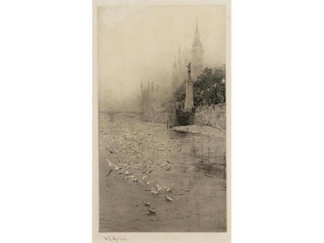 William Lionel Wyllie Royal Air Force Memorial, The Embankment Etching and aquatint, on laid, with margins, signed in pencil; apparently in good condition, unexamined out of the frame, 287 x 160mm (11 1/4 x 6 1/4in)(PL)