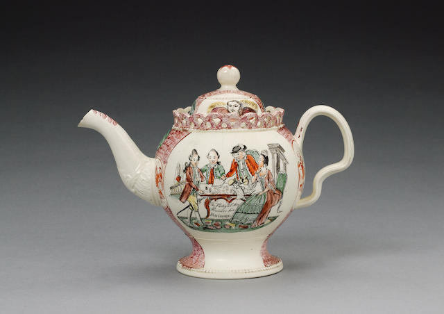 A creamware William Greatbatch printed teapot and cover circa 1770-82
