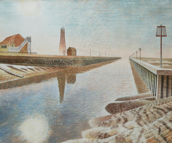 Eric William Ravilious (1903-1942) Rye Harbour 42.3 x 51 cm. (16 5/8 x 20 in.)