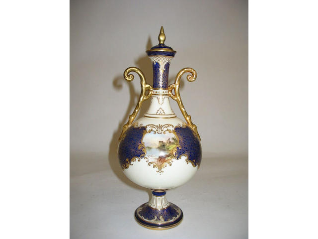 A Royal Doulton vase and cover by J H Plant,