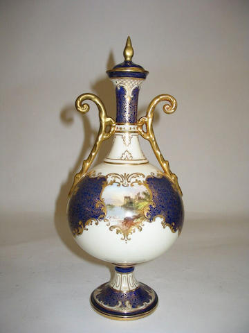 A Royal Doulton vase and cover by J H Plant
