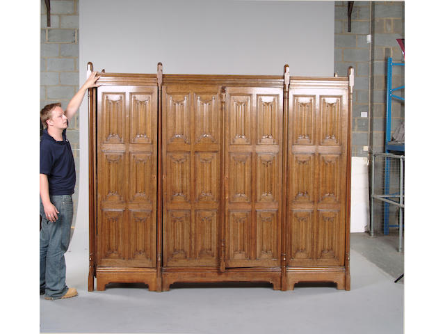 A Gothic revival oak wardrobe