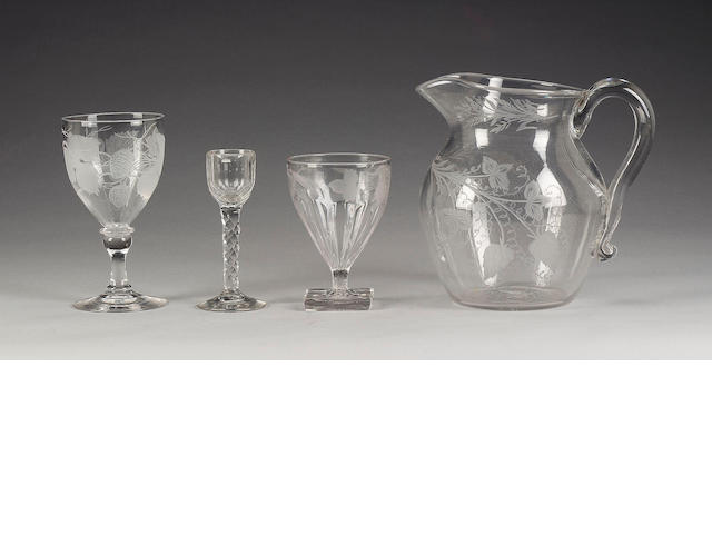 A glass jug, three rummers and seven other pieces of glass