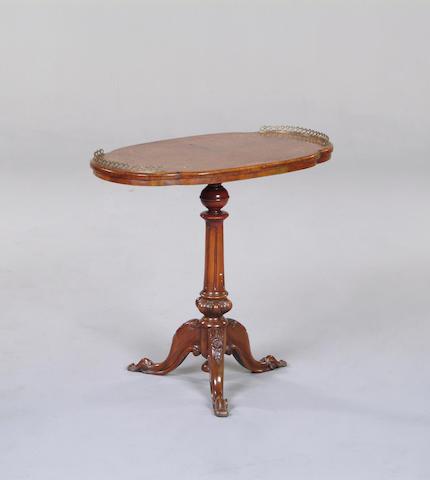 A walnut, burr walnut and inlaid occasional table