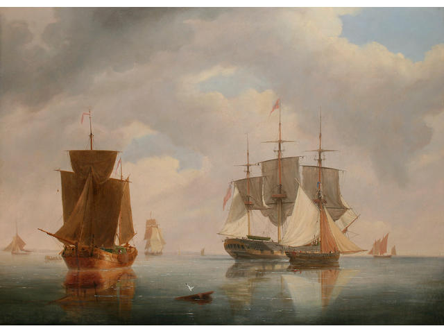 Frederick Calvert (circa 1785 - 1845) Shipping in calm waters, 64.5 x 89cm.