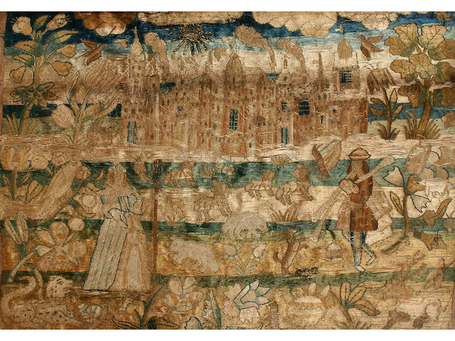 A mid / late 17th Century silkwork picture of Nonsuch Palace,