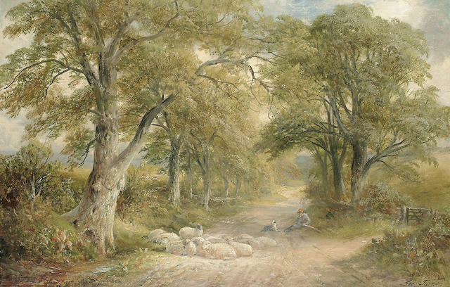 George Turner (British, 1843-1910) 'A Lane near Tissington, Derbyshire', 39 x 59.4 cm (15 3/8 x 23 3/8 in)