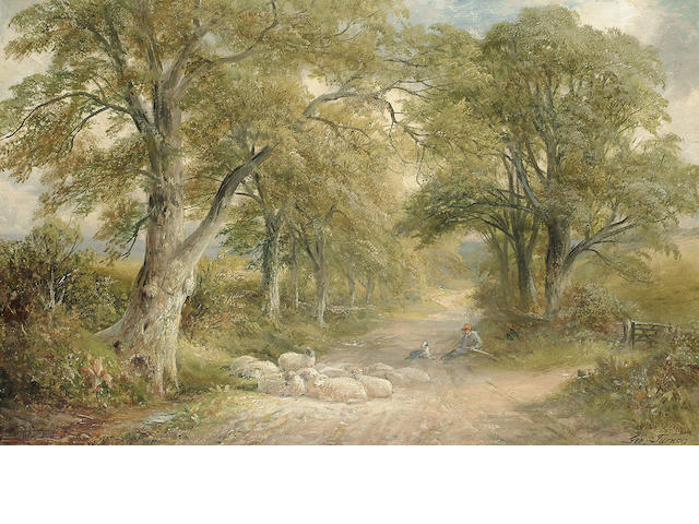 George Turner (British, 1843-1910) 'A Lane near Tissington, Derbyshire', 39 x 59.4 cm (15 3/8 x 23 3
