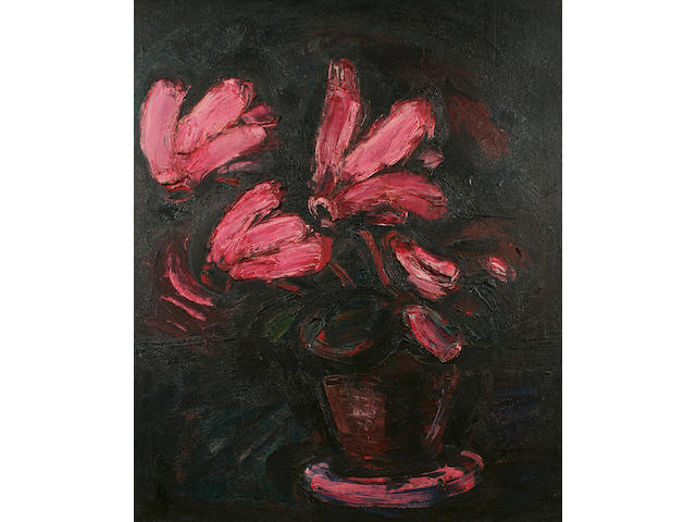 Theodore Major (1908 - 1999) Cyclamen, 75.5 x 62.5cm.